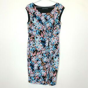 Hartford-Grove-Womens-Pink-Blue-Sleeveless-Partially-Lined-Dress-Size-12