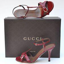 GUCCI New sz 38.5 - 8.5 Designer Red Guccissima Womens Heels Sandals Shoes $695