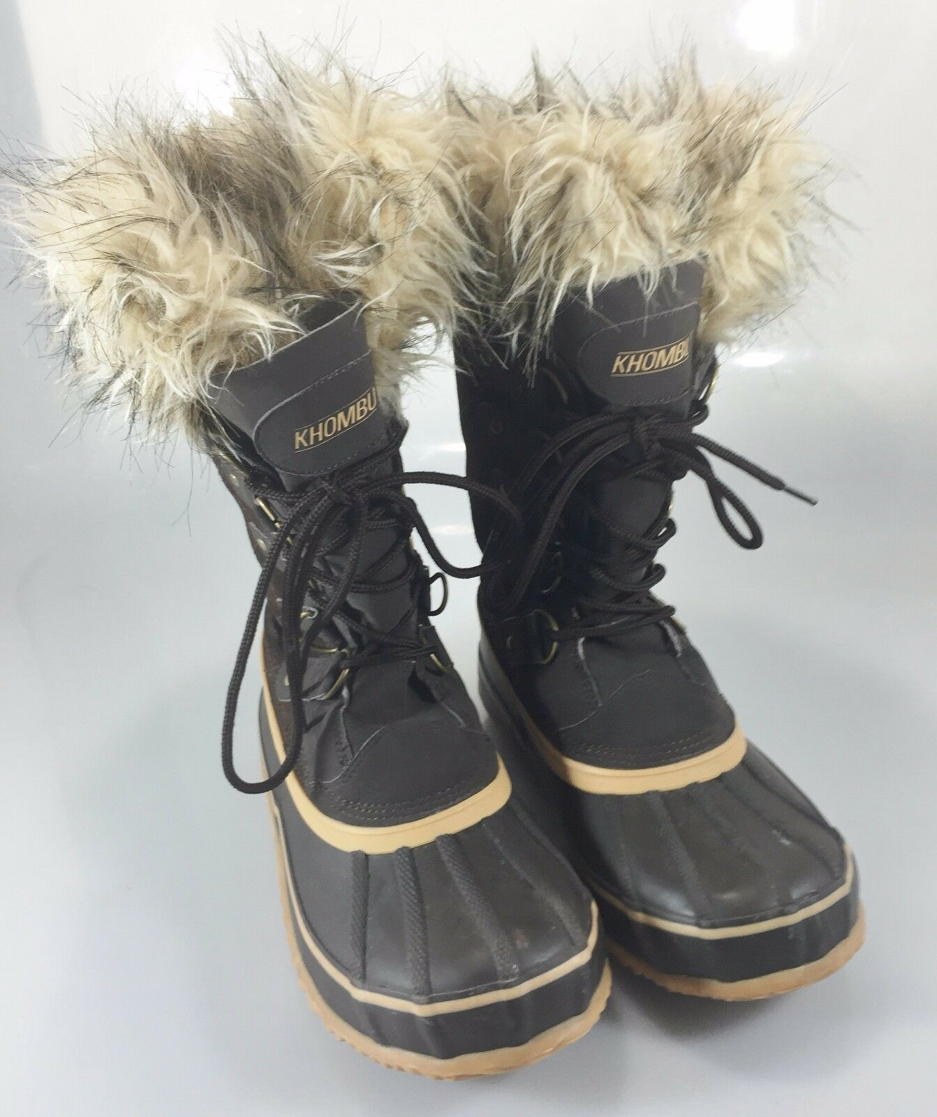 Khombu Damenschuhe Faux 9 M Winter Duck Stiefel Braun Faux Damenschuhe Fur Steel Shank 975758
