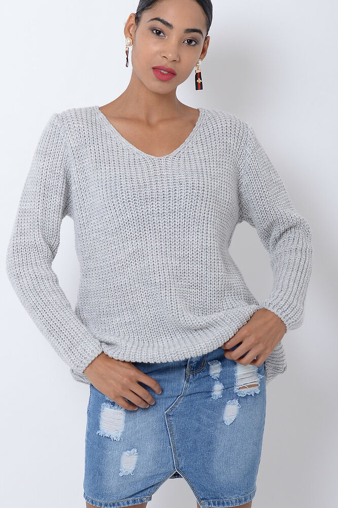 Aimable Femme Pull En Mailles Gris Clair Femme Manches Longues Hiver Chaud Pull Chemisier