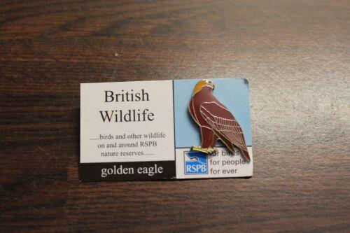 RSPB Badge golden eagle on British Wildlife Card