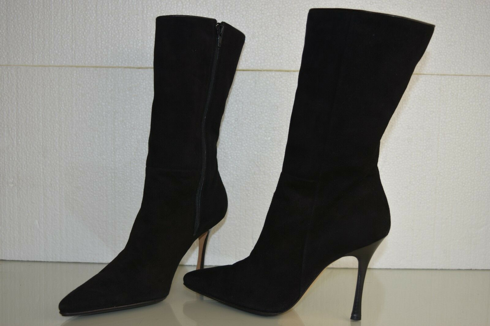 NEW Manolo Blahnik Black Suede Shearling FUR GATI Mid Boots shoes 39.5