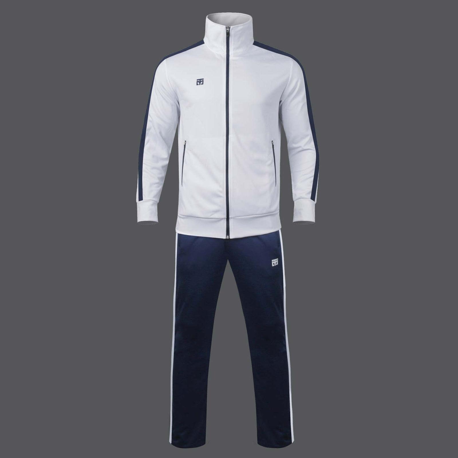 Evan Training Suits Set White Top Navy Pants Slim Fits Mooto Running Taekwondo