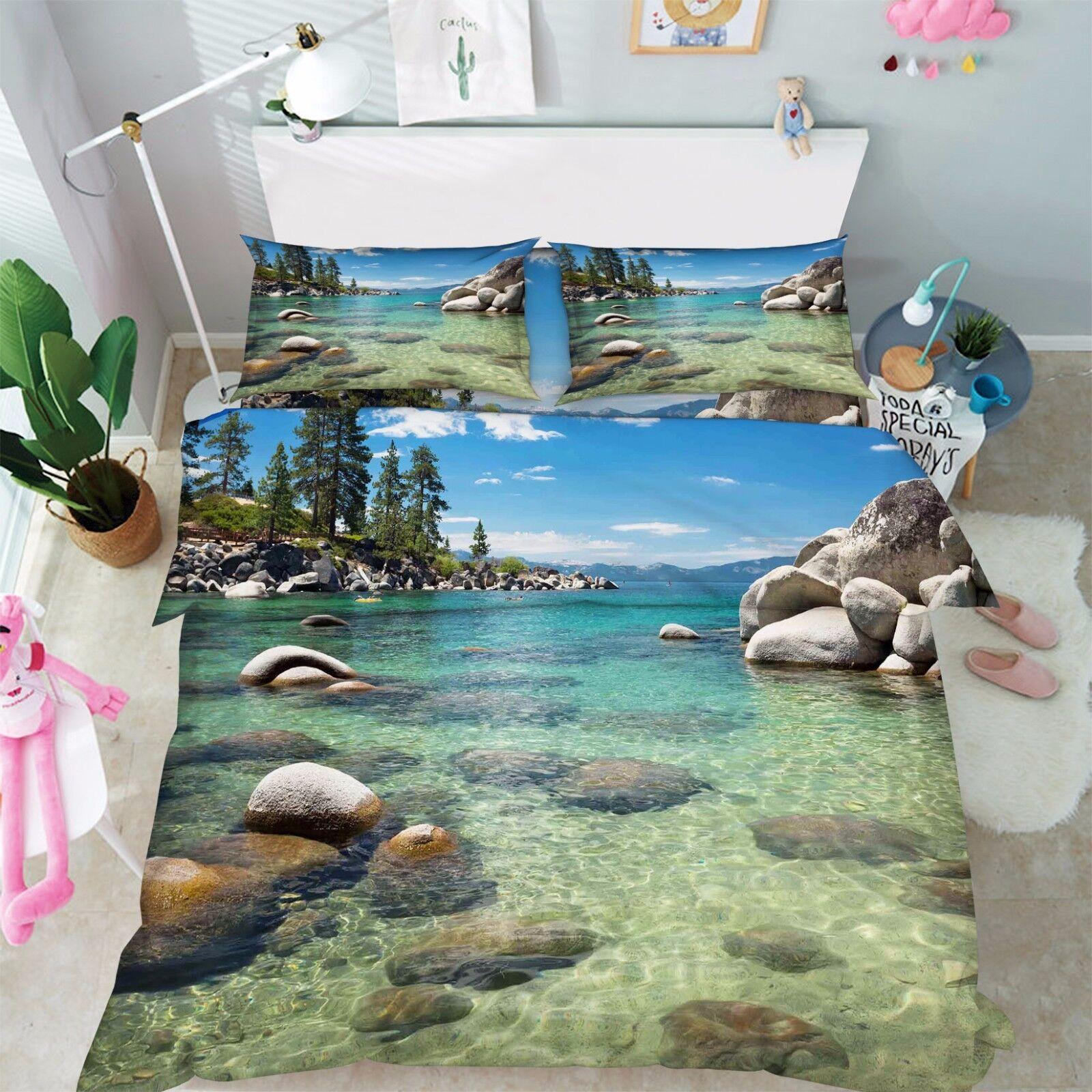 3D River Stone 876 Bed Pillowcases Quilt Duvet Cover Set Single Queen UK Kyra