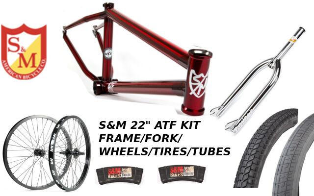S&M 22 INCH ATF FRAME 21.625 TRANS RED CHROME 22  KIT WHEELS FORKS BMX BIKE