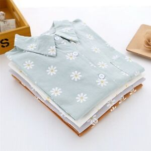 Women-Shirt-Blouse-Flower-Floral-Turn-Down-Collar-Long-Sleeve-Casual-Top-Cute