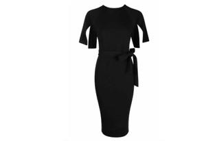 6693bc10bf5c Ladies New Split Sleeve Tie Waist Detail Wiggle Midi Dress Size 10 ...