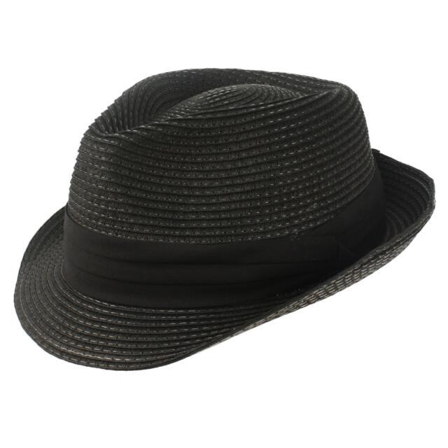 Men's Summer Stingy Short Brim Derby Fedora Pleated Hatband Hat Black L/XL 58cm