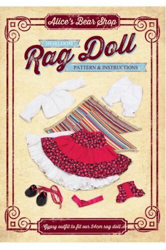 una bambola di pezza vestito-Gypsy Vestito Motivo e libretto istruzioni Macchine da cucire