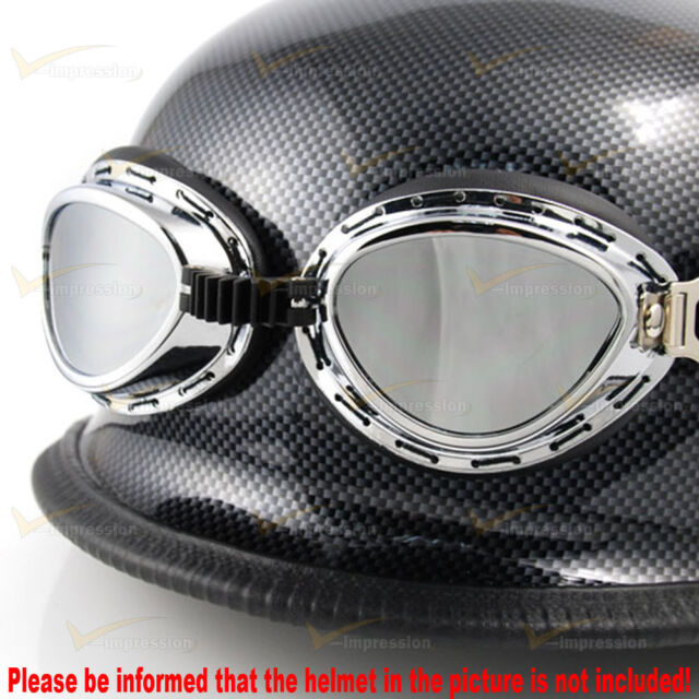 Chrome Frame UV Strap Steampunk War Game Party Goggle Sunglasses For Harley