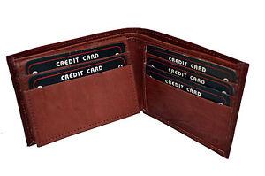 Original En Cuir Souple Carte De Crédit Support pour 15 cartes marron deux volets