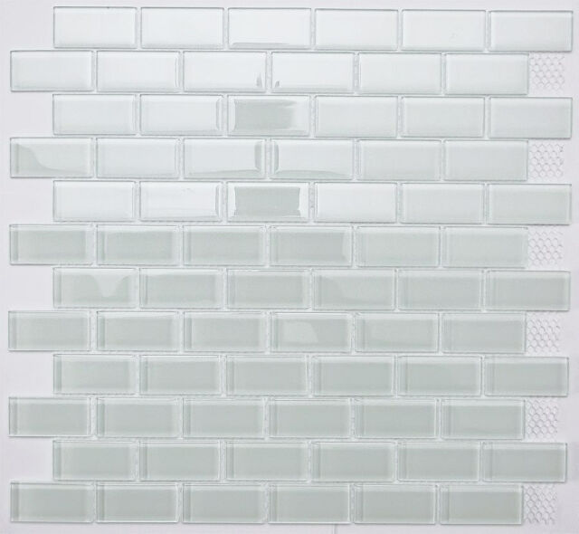 SAMPLE. White Subway Glass Mosaic Tile for Bathroom, Kitchen, Backsplash