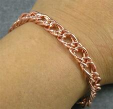 "Shiny Solid Copper Chain Link Double Curb Bracelet 7 1/2"" 8mm wide 6 7/8"" inside"
