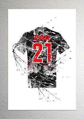 Juventus Football Shirt Art Splash Effect A4 Size Zinedine Zidane