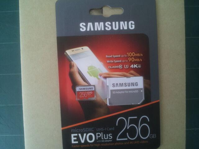 Genuine SAMSUNG EVO Plus 256GB 100MB/90MB MicroSDXC Class10 Memory Card