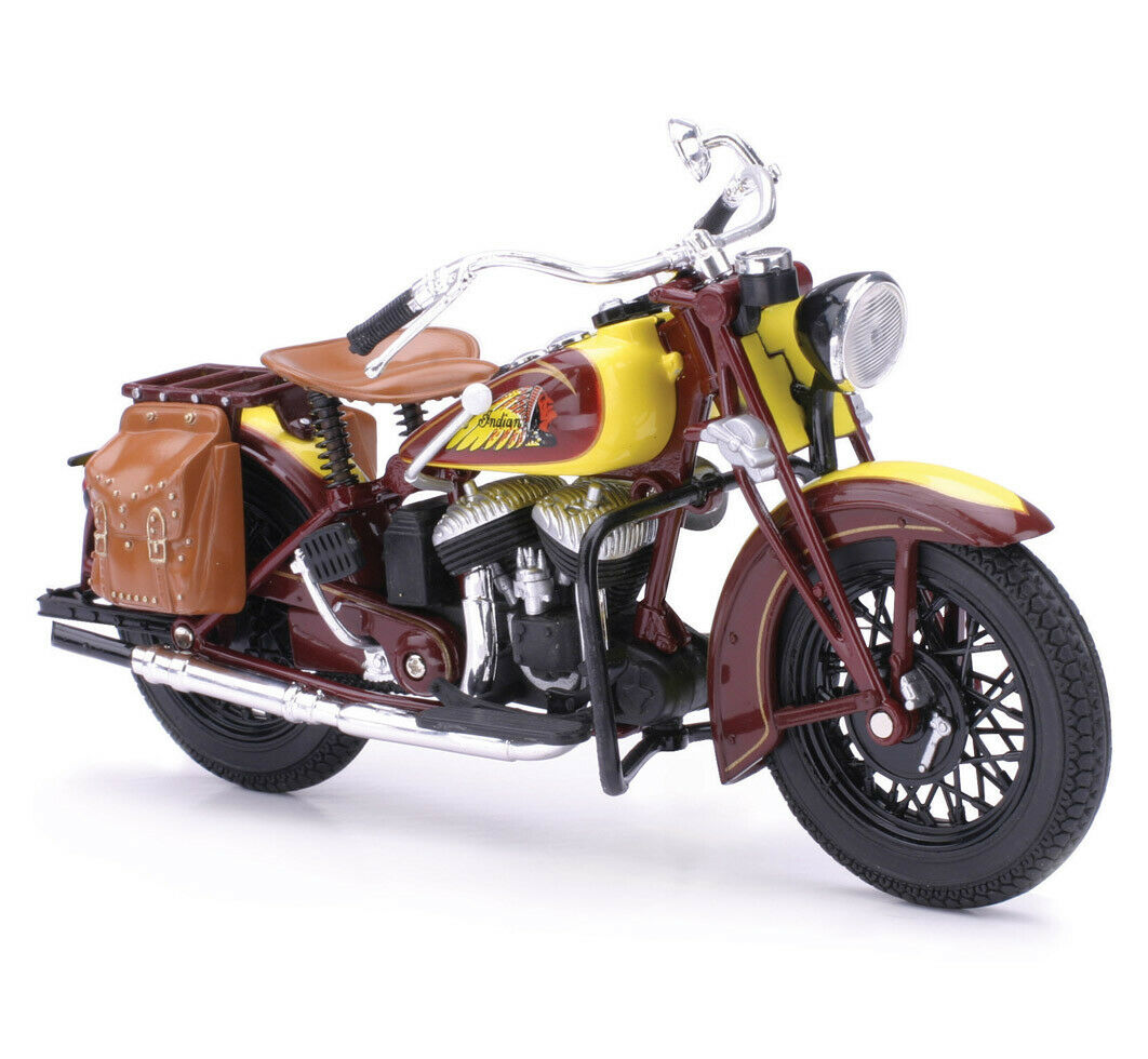 NEW RAY 42113 1934 INDIAN SPORT SCOUT CLASSIC MOTORCYCLE 1//12 BROWN