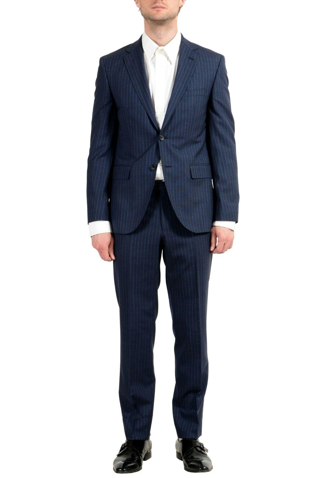 Hugo Boss  Johnstons5 Lenon1  Men's 100% Wool bluee Striped Two Button Suit