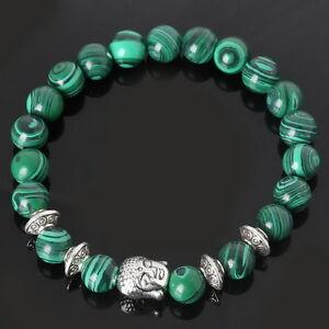 Mujer-Pulsera-De-Yoga-Malaquita-Granos-De-Piedra-Brazalete-Buda-Bracelet