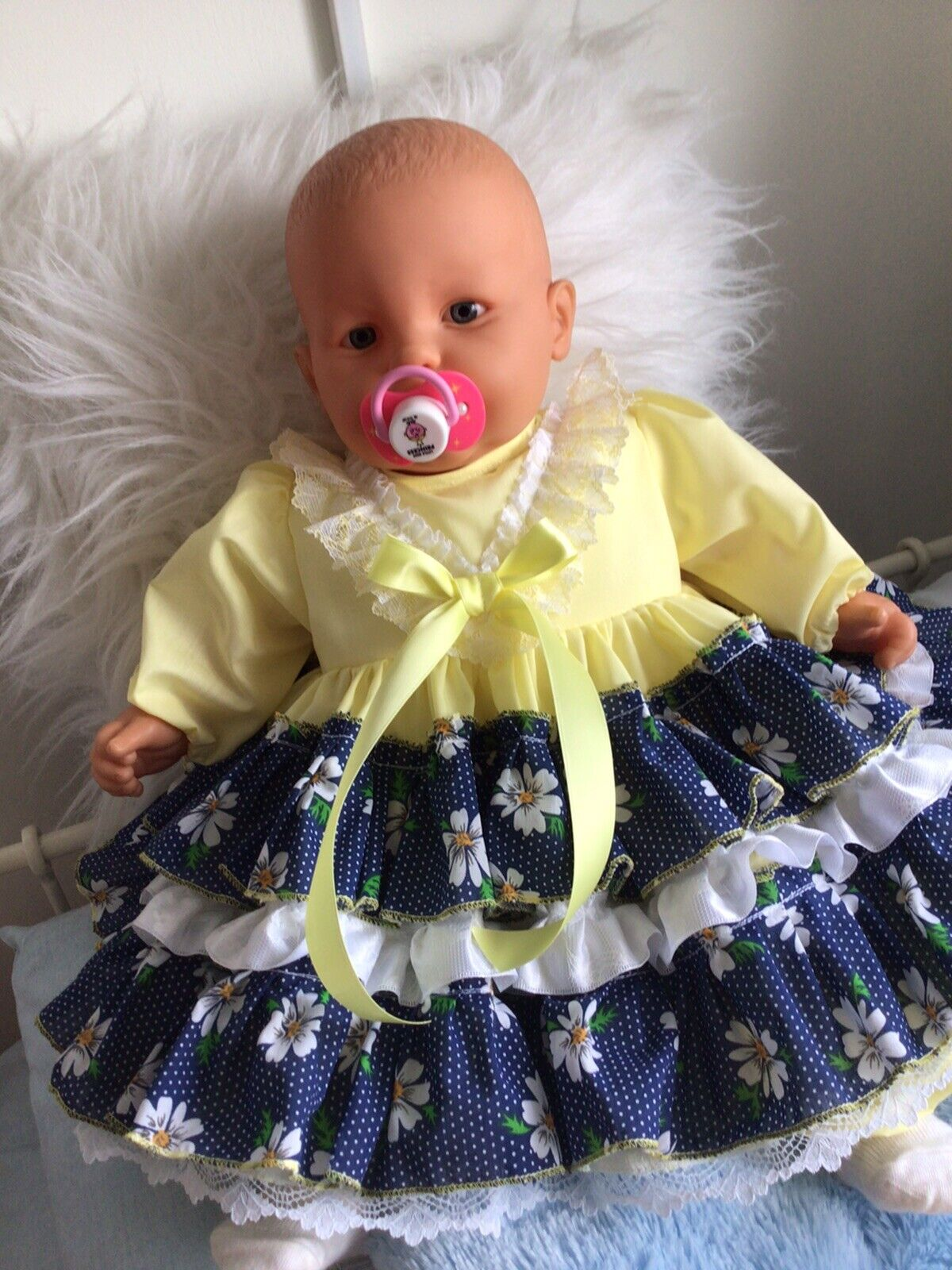 CLOTHES FOR BAby 6-12mths /REBORN doll 24-26 Navy Daisy two piece Dress Set