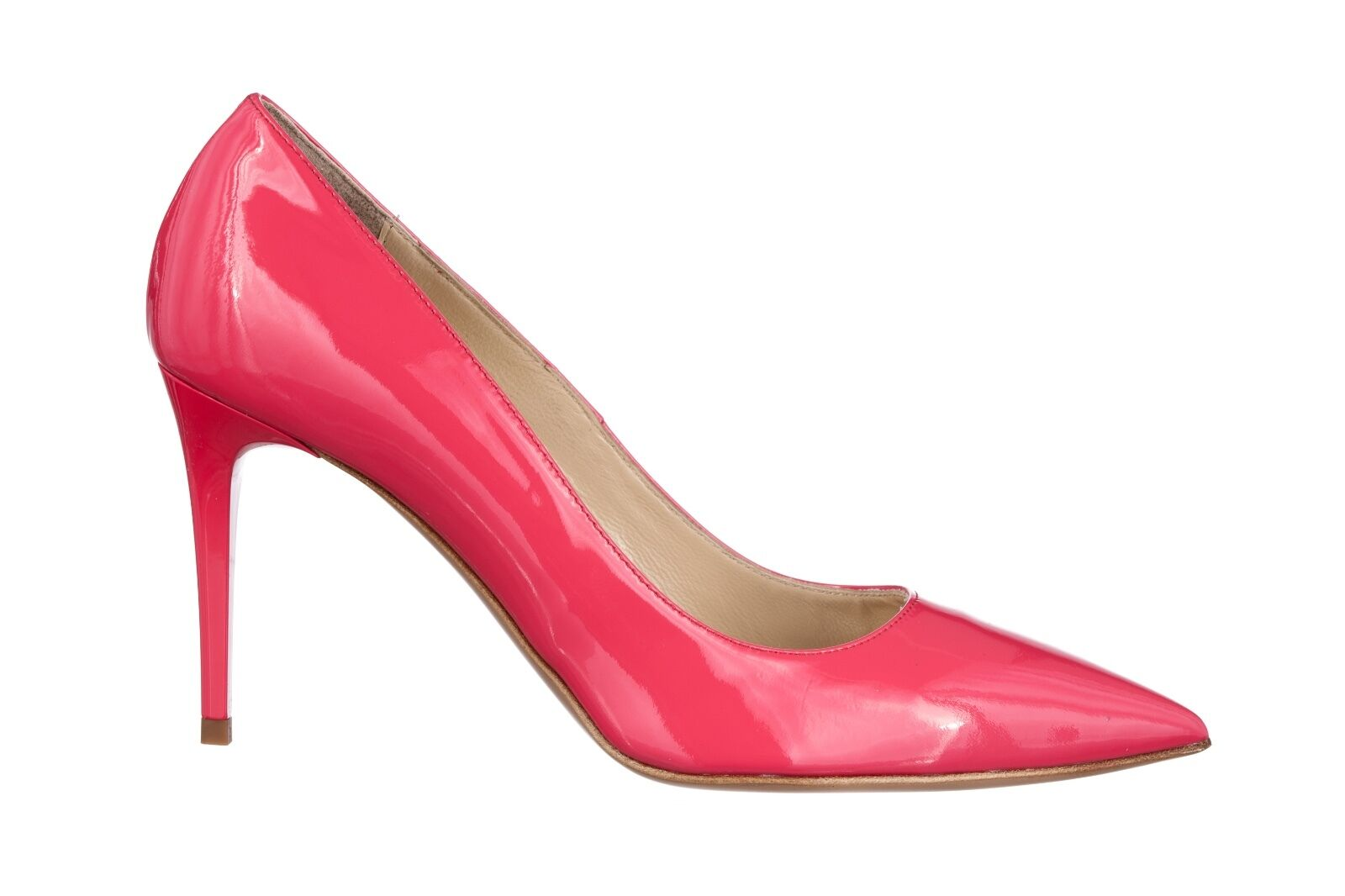 Descuento de liquidación MORI MADE IN ITALY POINTY HIGH HEELS PUMPS DECOLTE SCHUHE LEATHER PINK FUXIA 39