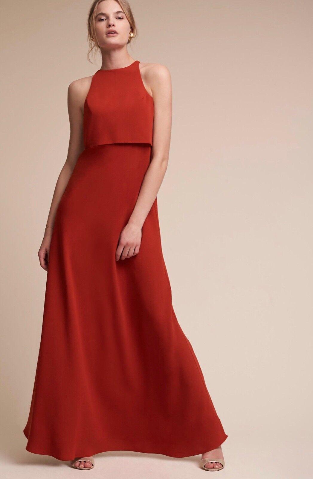 NWT NWT NWT  298 BHLDN Jill Stuart Iva Crepe Maxi Dress Size 10 Spice e14c9a