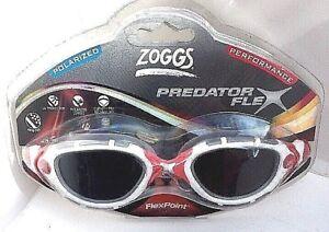 Zoggs Predator Flex Polarized Adult Swimming Goggles UV Anti-fog White//Red