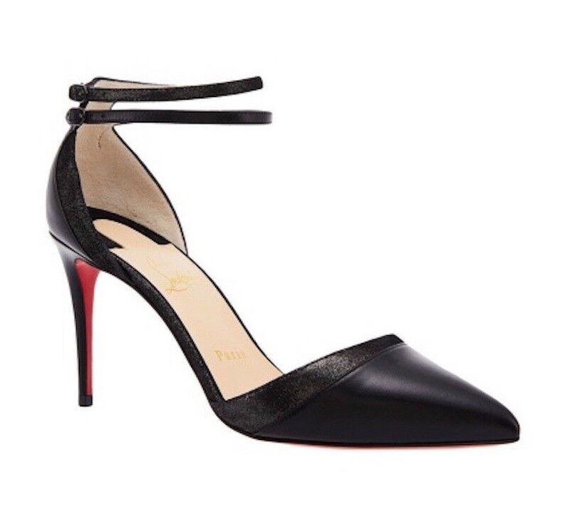 NIB Christian Louboutin Uptown Double 85 Black Ankle Strap Sandal Sandal Sandal Heel Pump 37.5 55b8e3