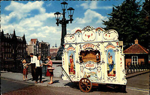 Amsterdam-Niederlande-alte-Ansichtskarte-1965-Drehorgel-G-Perlee-Personen
