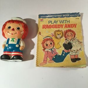 VTG-Raggedy-Andy-Figurine-Coin-Bank-Ceramic-7-034-In-Tall-amp-Baby-039-s-First-Book