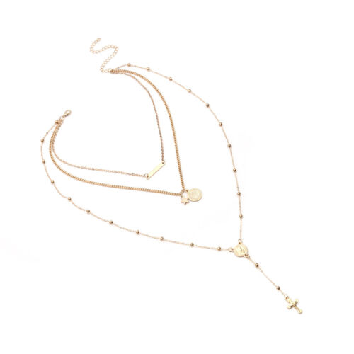 Triple Chain Layer Necklace Drop Necklace Cross Beaded Charm Necklace B76