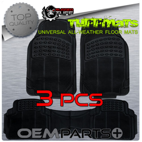 RUGGED TUFF 3 PCS FLOOR MATS BLACK UNIVERSAL ALL WEATHER TRIM CUT HEAVY DUTY NEW