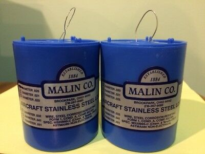 2 MALIN AVIATION S//S AIRCRAFT SAFETY WIRE 1lb roll of both .025 /& .032 w// certs