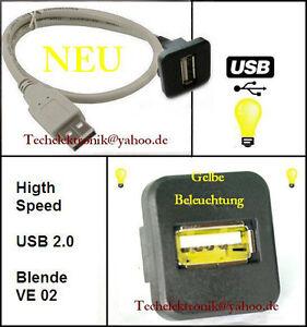 USB-Einbaubuchse-BELEUCHTUNG-50cm-passend-fuer-Avensis-Yaris-Superb-Leon-Ibiza-UP