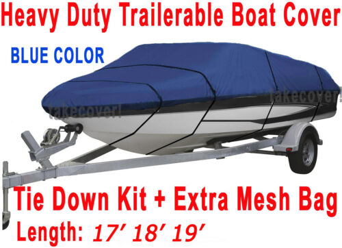Ski Trailerable Boat Cover Blue Color All Weather FT 17/' 18/' 19/' V-Hull Fish