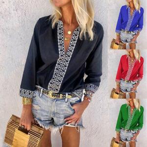 Fashion-Women-039-s-Bohemian-Ethnic-Print-Shirt-Long-Sleeve-V-Neck-Beach-Blouse-Top