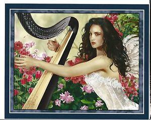Nene Thomas Fantasy Art Print 8x10 Concerto Harp Harpist Angel Feather Wings