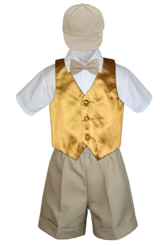 Baby Boys Toddler Formal Vest Shorts Suit Color Vest 5pc Khaki Bow Tie Set S-4T