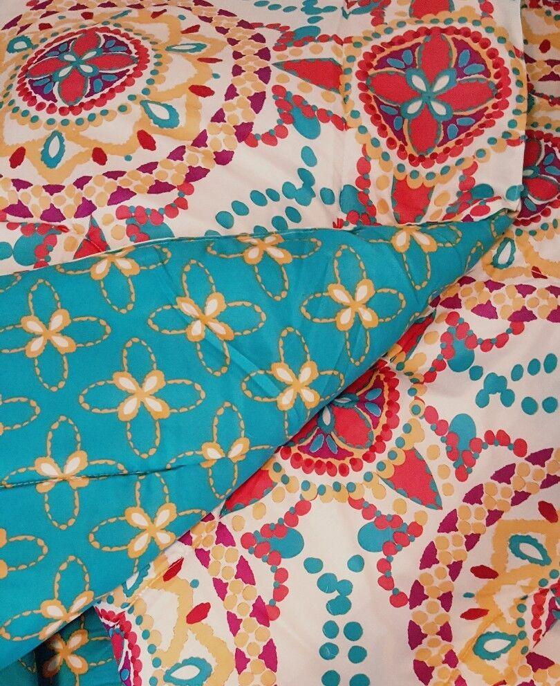 Boho Boutique Medallion Comforter 3pc Set  King  Teal Fushcia Peach Reversible