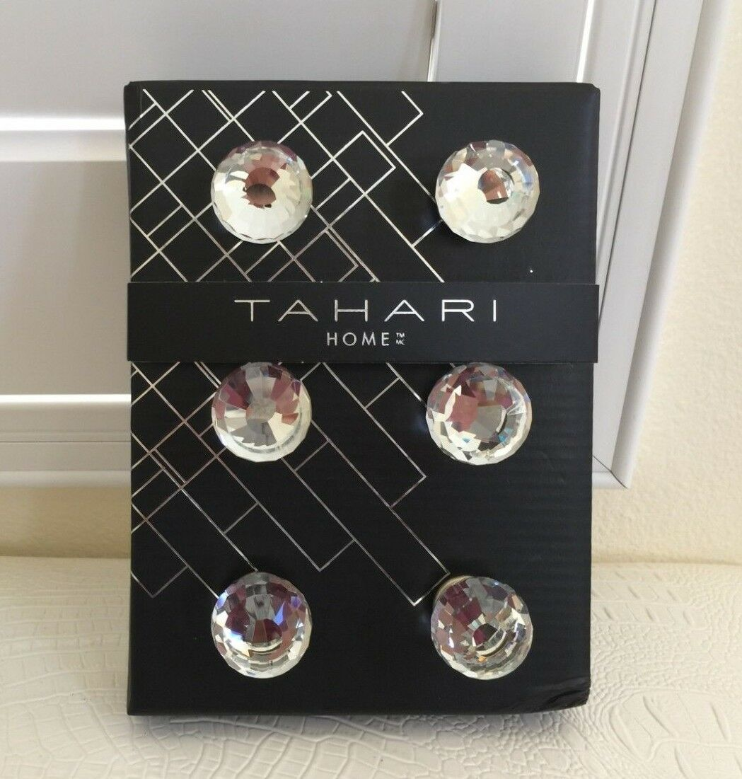 TAHARI HOME Set of 6 DRAWER KNOBS Pull Mirror Clear Crystal Round Design New