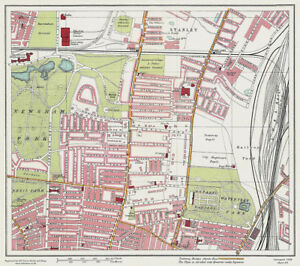 Wavertree Park Liverpool 1928 Series Sheet 4 old map Large Map