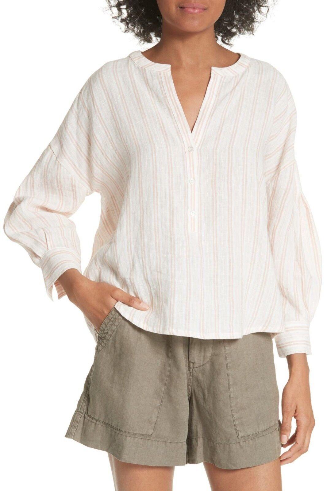 NWT- Joie Bekette Collarless Stripe Linen Blouse, Blaush Sand - Größe XSmall