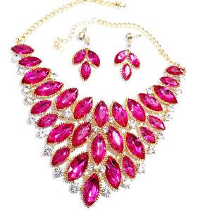 Statement-Choker-Necklace-Earrings-Rhinestone-Pink-Pageant-Prom-Ballroom-Drag