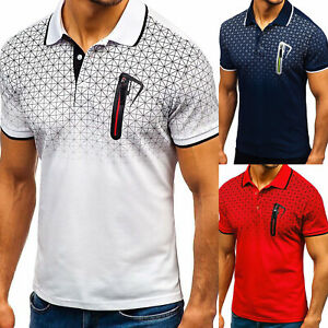 Men-039-s-Slim-Fit-Polo-Shirts-Short-Sleeve-Casual-Golf-T-Shirt-Sports-Jersey-Tops