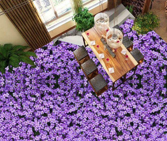 3D lila Lush Flowers Floor WallPaper Murals Wall Print Decal 5D AJ WALLPAPER