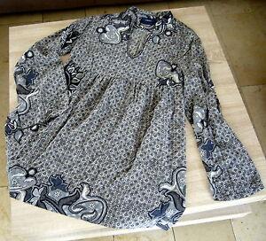 Mexx-Bluse-in-grau-70-039-Jahre-Retro-Stil-mit-Babydoll-ausgestellte-Form-Gr-44