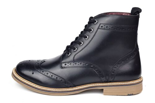 negras Frank cuero Botas para Up Genuine de James Lace Bexley hombres Brogue zr1zx