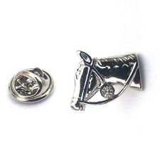 Silver Horse Head Lapel Pin Badge Equestrian Horses Riding Ride Pony Mane New