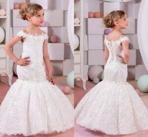 3c62d144384 Image is loading New-Lace-Mermaid-Flower-Girl-Dress-Kids-Birthday-