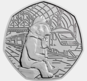 2018  PADDINGTON BEAR AT THE STATION COIN UNCIRCULATED FIFTY PENCE christmas