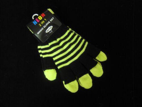 Neon gloves ONE SIZE boys girls childrens warm child winter wear kid fashion